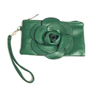 Handbags - Green Flower Wristlet Pouch